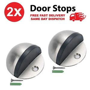 2 x Set Door Stop Floor Mounted Door Stopper Satin Stainless Steel Rubber Stops