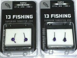 13 Fishing Purple Tungsten Jigs (Lot of 2-#14/1/64-2/pk)