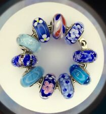 10 Authentic Pandora 925 ale silver beads charm glass murano blue aqual white