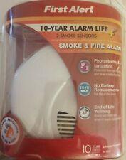 FIRST ALERT SA3210 SMOKE & FIRE ALARM BATTERY POWER 2 SENSORS PHOTO ION 10 YR