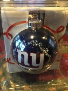 New York Giants NFL Glass Christmas Candy Cane Ball - New in Box