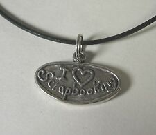 I Heart Love Scrapbooking Charm Pendant Necklace .925 Sterling Silver USA Made