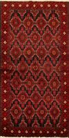 Geometric Balouch Afghan Oriental Area Rug Hand-Knotted Wool Tribal Carpet 3'x6'