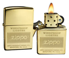 Zippo Lighter 28145 High Polish Brass W / Zippo Logo Wind Proof Classic NEW