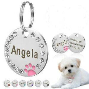 Personalised Diamonds ENGRAVING Dog ID Cat ID Name Bling Tag Puppy Pet ID Tags