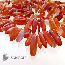 Edelstein Strang Red Agate/ Rot Achat Perlen 40cm 85 Steine Oval Schmuck Basteln