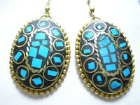 Pair Elegant Tibetan Oval Shape Turquoise Gemstone Inlay Brass Pendant Earrings