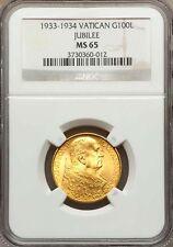 VATICAN CITY 1933-34 100 LIRE GOLD COIN, GEM UNCIRCULATED, CERTIFIED NGC MS-65