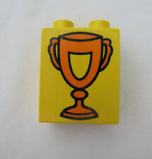 Rare Lego Duplo TROPHY AWARD CELEBRATION BLOCK for RACE CAR HORSE  PRINTED BLOCK