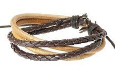 Brown Coloured Multi-Strand Leather Strap & Cord Surf Wristband Bracelet Surfer