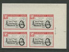 Guernsey SARK 1966 Churchill 1s plane Dart Herald PROOF INVERTED Ovpt block 4