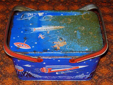 DECOWARE  SPACE TRAVEL  LUNCH BOX  TOTE C. 1940'S-50'S   SCIENCE FICTION
