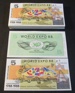 Lot of 100 pieces - Australia 1988 World Expo - $5 Notes - Bicentenary