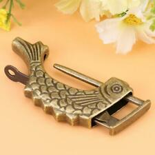 Vintage Chinese Padlock Antique Fish Style Collectibles Jewelry Box Lock Brass