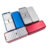 72 Holes Dental Autoclave Sterilizer Case Disinfection Box Red Blue Silver