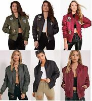 New Womens Ladies MA1 Combat Badge Army Vintage Padded Bomber Biker Jacket, XS-L