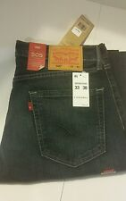 Levis 505 Mens Jeans Regular Fit Straight Leg 33 by 30 New With Tags blue