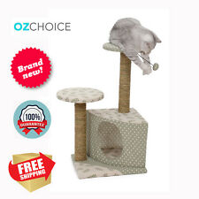 Cat Scratching Post Tree Gym Shelter Condo Small Medium Grey 64cm