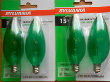 4 x SYLVANIA Transparent GREEN Light Bulbs // Indoor/Outdoor // 15 W