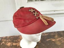 1950`s Women`s Red Twill Sports Cap With Lace Up Front