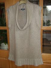 Beige Woollen Long Sleeveless Cowl Necked Top by Evie size 18