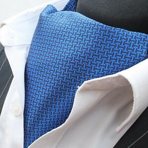 Cravat Ascot Dark Blue & Black with matching hanky.