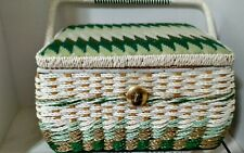 Vintage Sears Sewing Basket Wicker Handle Lift Out PlasticTray Green White Tan