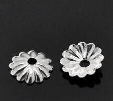 250 SILVER PLATED WAVEY BEAD CAPS 6mm~Findings~Earrings~Necklace~Bracelet (30J)