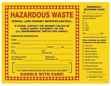 HAZARDOUS WASTE / Response Guide Labels, 6 x 6 inches, Vinyl, Pack of 100
