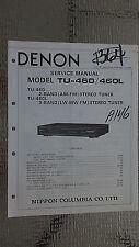 Denon tu-460 L Service Manual Original Reparatur Buch Stereo Tuner Radio