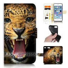 ( For iPod Touch 6 ) Wallet Flip Case Cover AJ21045 Terrible Leopard