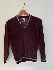 PLAYBOY by FITWEAR vintage brown v neck velour jumper pullover 70's 90cm 6-10