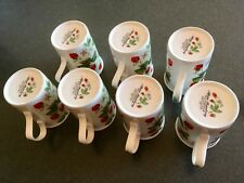 White Roy Kirkham Alpine Strawberry Coffee or Tea Cup Mug   Lot Of 7
