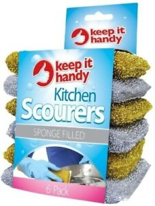 6 x Non Scratch Scourer Pads Pearl Scourers Cleaning Washing Up Pan Dish Cleaner