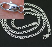 Men's 4MM Stamped 925 Chunky Silver Curb Chain Necklace 24'' inch NEW