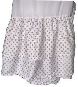 Sweet Jojo Solid Gray Polka Dot Ruffled Tiered Baby Crib Bed Skirt Dust, C22