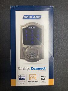 Schlage Connect Smart Deadbolt with Alarm - Satin Nickel (BE469ZP V CAM 619)
