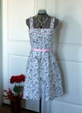 Scarlett Black White 50s Style Fit and Flare Dress Sz 10
