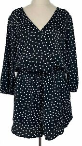 Decjuba Womens Back/White Spotted 3/4 Sleeve Lined Playsuit Size 10