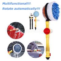 1x Car Extendable Pole Rotating Vehicle Wash Washing Cleaning Brush Sponge Hose