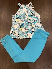 Janie and Jack Girls 5 6Y Shoreline Club Turquoise White Navy Floral Pique Top