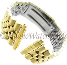 16-22mm Kreisler Center Clasp Gold Tone Non Allergy Stainless Watch Band 402Y