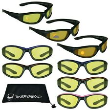 TRANSITION MOTORCYCLE SUNGLASSES   Biker Day Night Wind Resistant Yellow Glasses