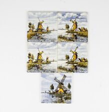 Five Delft Hand Painted Polychrome Royal Delft Tiles Windmills,Holland Scenes