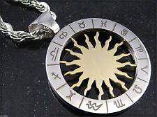 Edelstahl  Anhänger Sternzeichen Sonnensymbol Ø 3,3 cm Astrologie Horoskop Kette