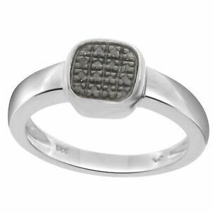 0.06 Cttw Nattural Diamond Cluster Ring 14K White Gold Over Sterling Silver 925