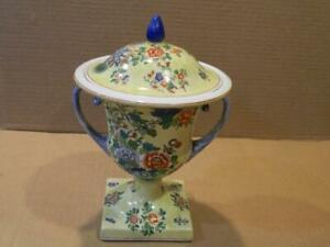 """Spode Hand Painted 8 1/2"""" Covered Urn Peacocks, Bees & Peonies Antique"""