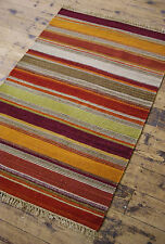 TRADITIONAL Autumn colour STRIPED COTTON WOOL KILIM RUG 75 x 120cm Scandi Chic