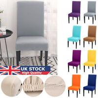 Removable Elastic Chair Slipcovers Solid Color Short Dinning Room Seat Covers UK