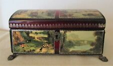 vintage REUGE MUSIC BOX Chest w/ Paintings Decoupage 4 PIECES CH 4/50  # 45033